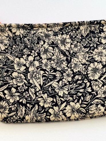 porte monnaie fleurs noires